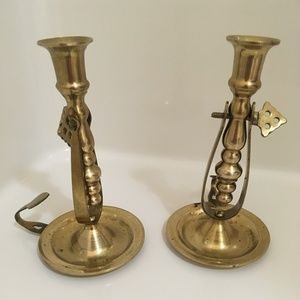 Interpur ROC / Candlestick Holder / Brass Vtg 6x4""